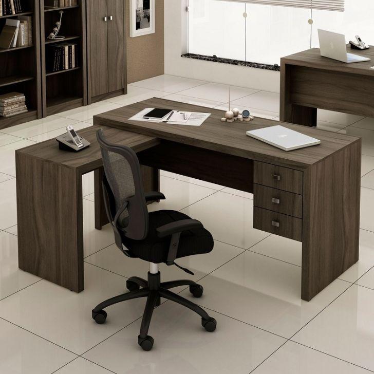 Mesa de escrit rio em l com gavetas tecno mobili carvalho for Mesa escritorio l