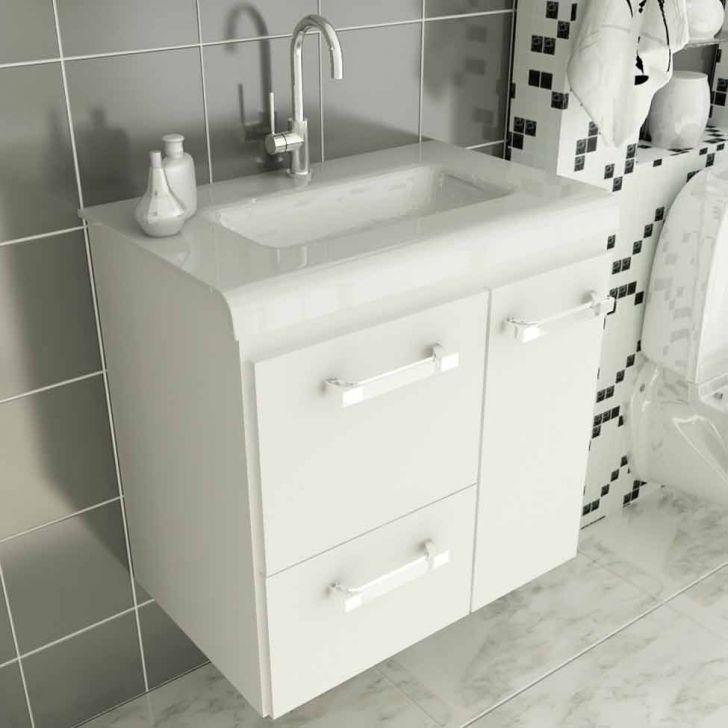 Gabinete Vetro 60 cm 2 Portas 1 Gaveta Branco -> Armario De Banheiro Mobly