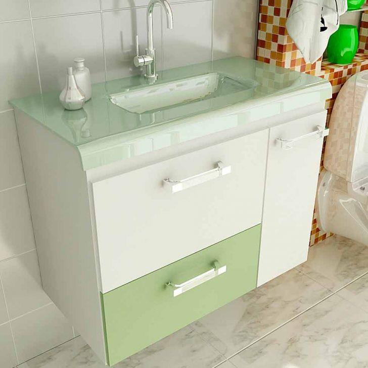 Gabinete Vetro 80 cm 2 Portas 1 Gaveta Branco & Verde -> Onde Comprar Armario De Banheiro Barato