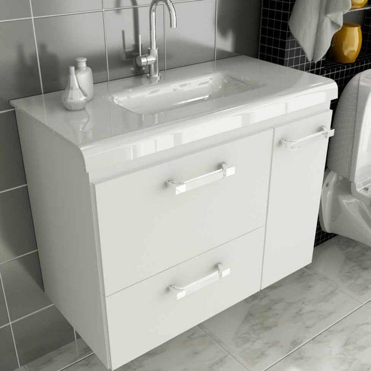 Gabinete Vetro 80 cm 2 Portas 1 Gaveta Branco Tomdo -> Gabinete De Banheiro Mobly