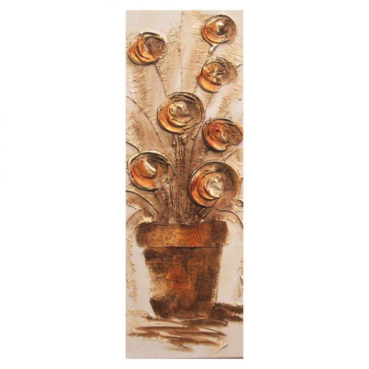 Artesanato Minas Gerais ~ Quadro Artesanal com Textura Vaso com Flores Marrom 20x60cm Uniart