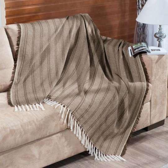 Manta para sof oslo 150x140 tabaco 2244 for Mantas de lana para sofa