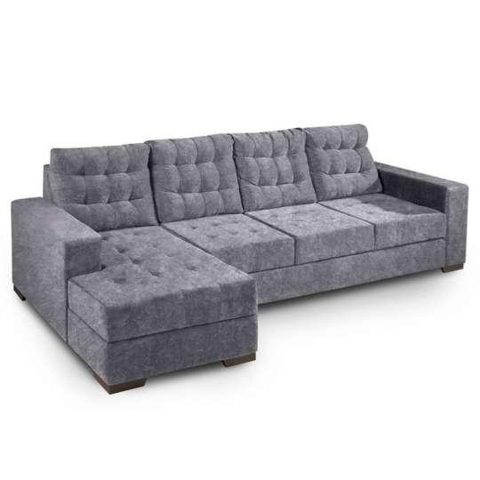 Sof 3 lugares com chaise marrocos suede amassado cinza for Sofa 1 lugar com chaise