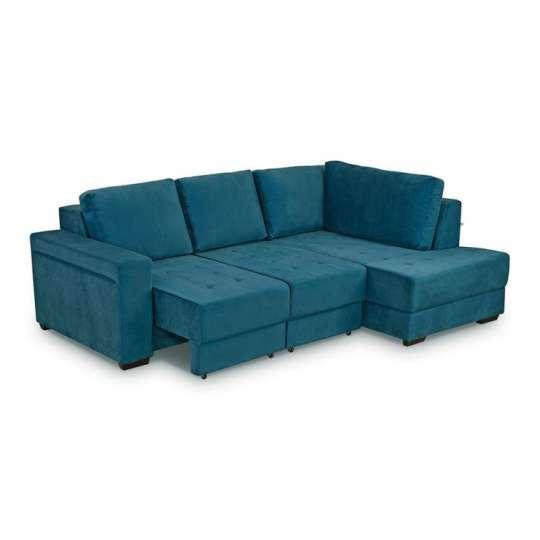 Sofá 3 Lugares Retrátil com Chaise Stela Veludo Azul