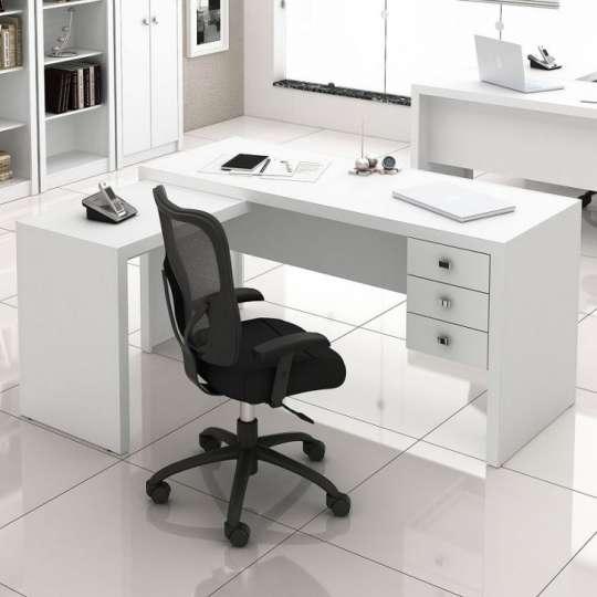 Mesa de escrit rio em l com gavetas tecno mobili branco for Mesa escritorio l